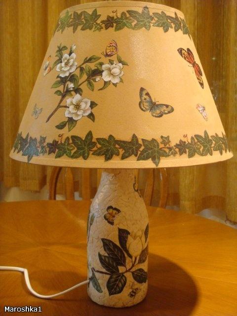 Декупаж плафона настольной лампы