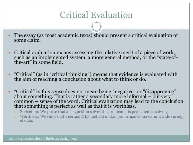 Buy critical evaluation essay