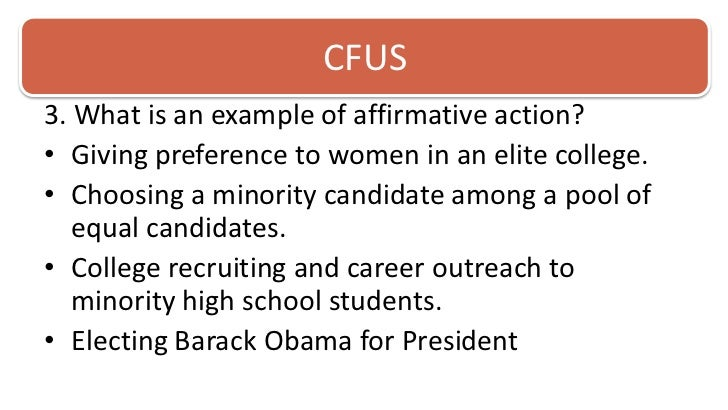 affirmative action essay reference Anti affirmative action essays recently, many people have had a problem with affirmative action its unfair rules and just the whole definition are outrageous.