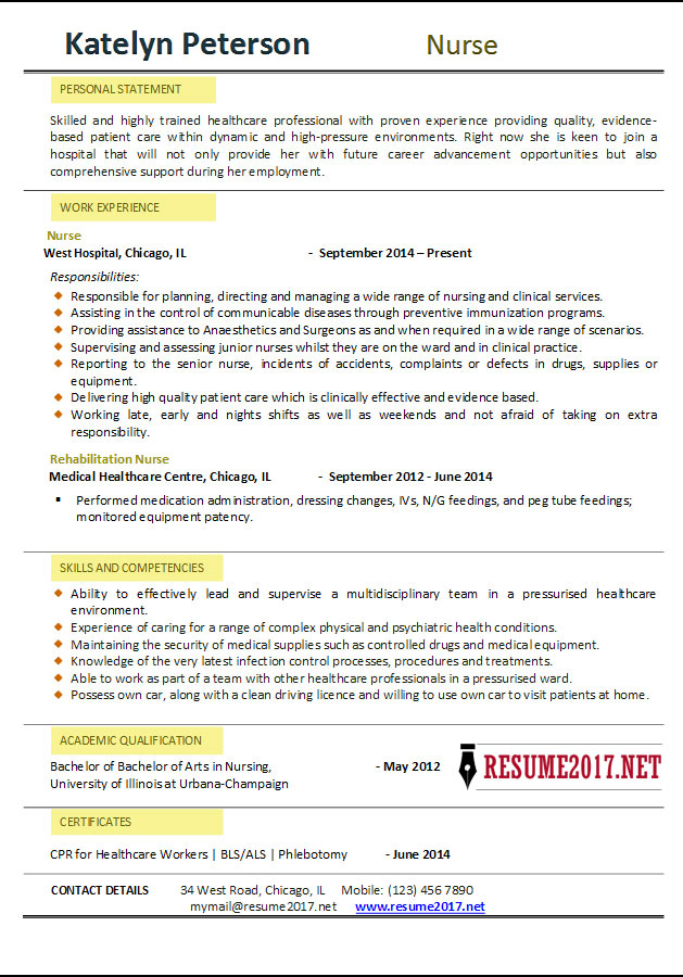 Example Of Nurse Resume. Nurse Resume 2017 Nurse Resume 2017 Examples U2022  Sample Of Rn Resume The 25 Best Rn Resume Ideas On Pinterest Nursing Cv  Registered ...