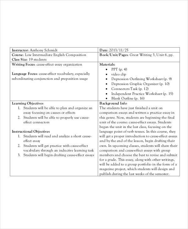 cause and effect outline template