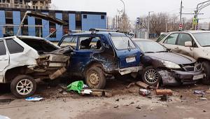 ВДагестане КамАЗ столкнулся счетырьмя машинами