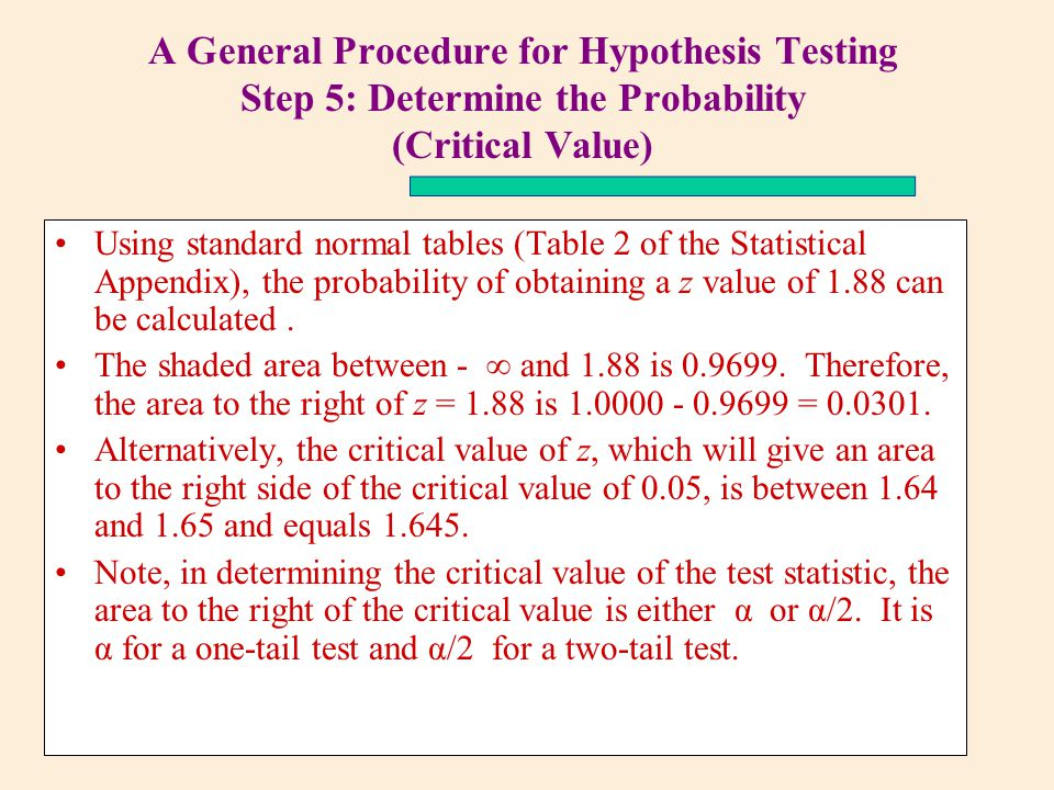 5 step hypothesis testing procedure