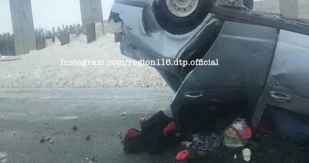 Соцсети: возле Иннополиса вТатарстане перевернулась легковушка