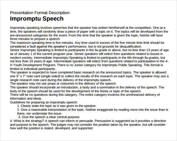 Impromptu speech rules