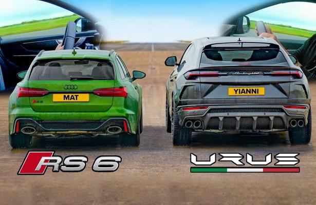 Дрэг-гонка: Audi RS6против Lamborghini Urus намокрой трассе