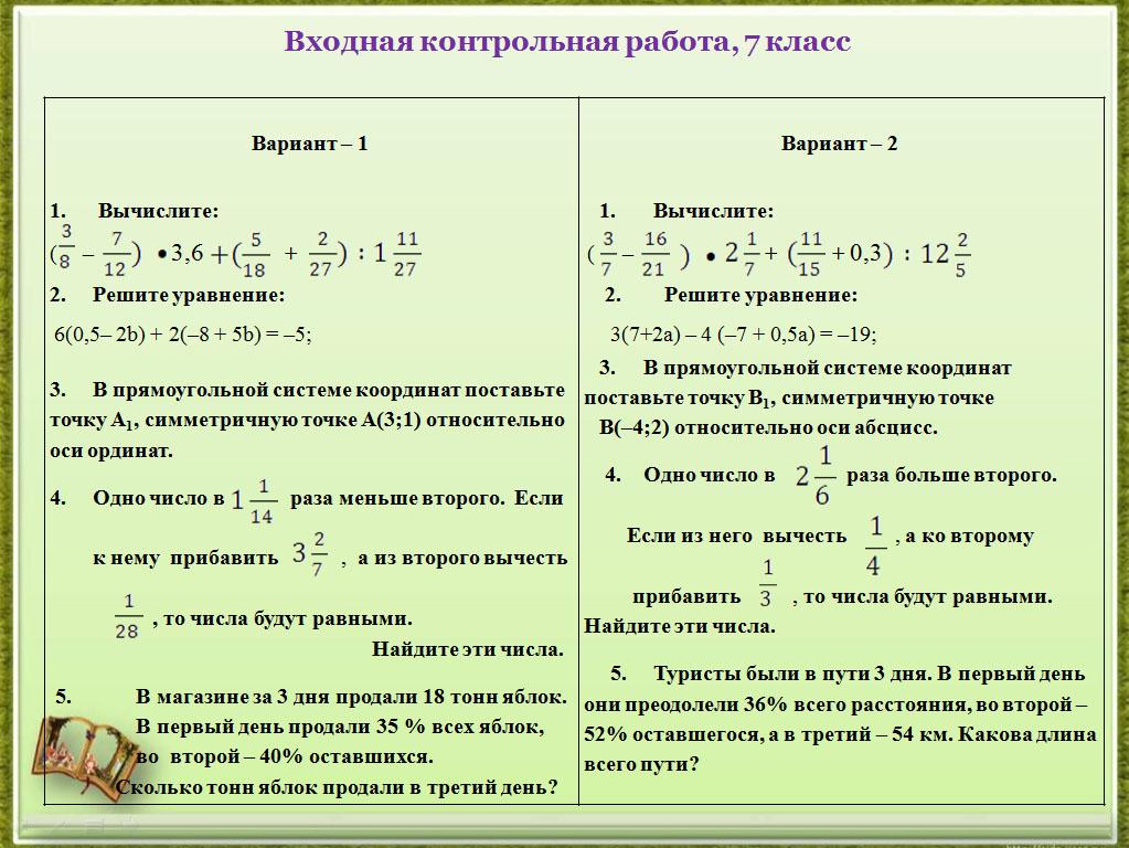 Контрольная работа по математике 7 класс в форме огэ с ответами