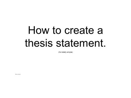 Buy how to write an thesis