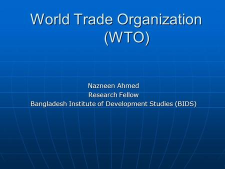 Wto research papers