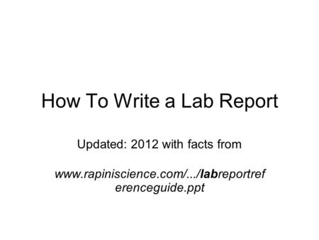 How to write a lab report for biology