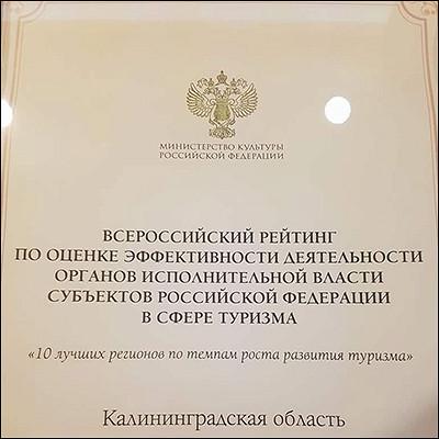 Калининградская область вошла вдесятку лучших регионов потемпу развития туризма