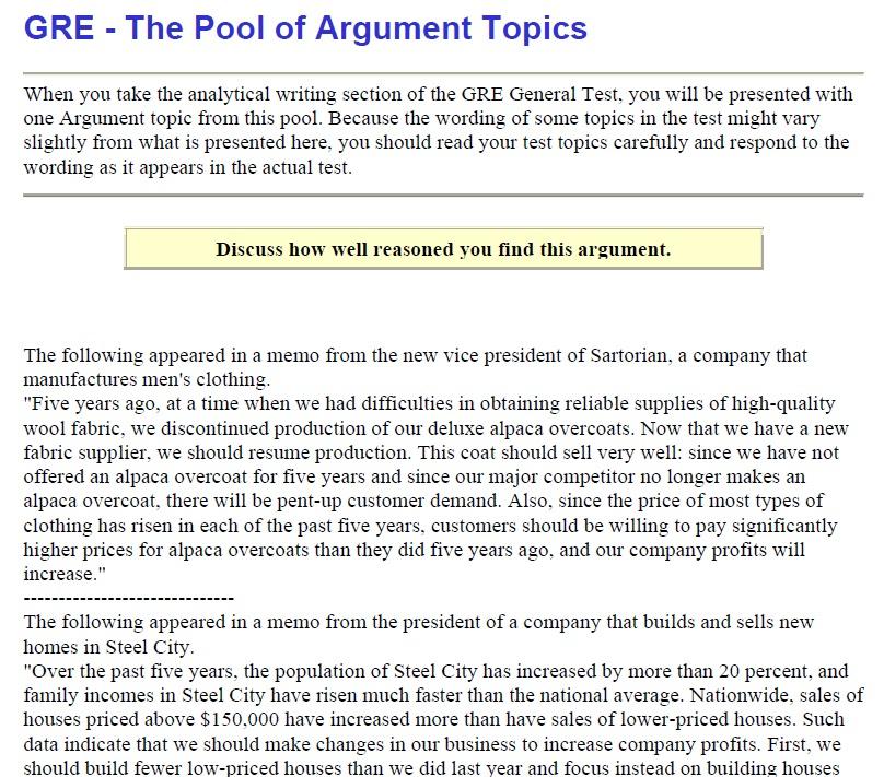 Write my sample gre argument essays