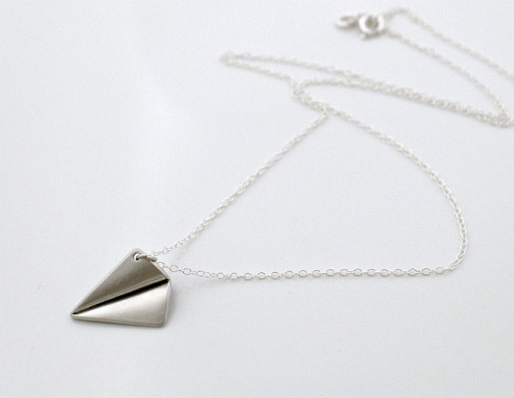 Paper Airplane Charm on a Necklace Reminds me of