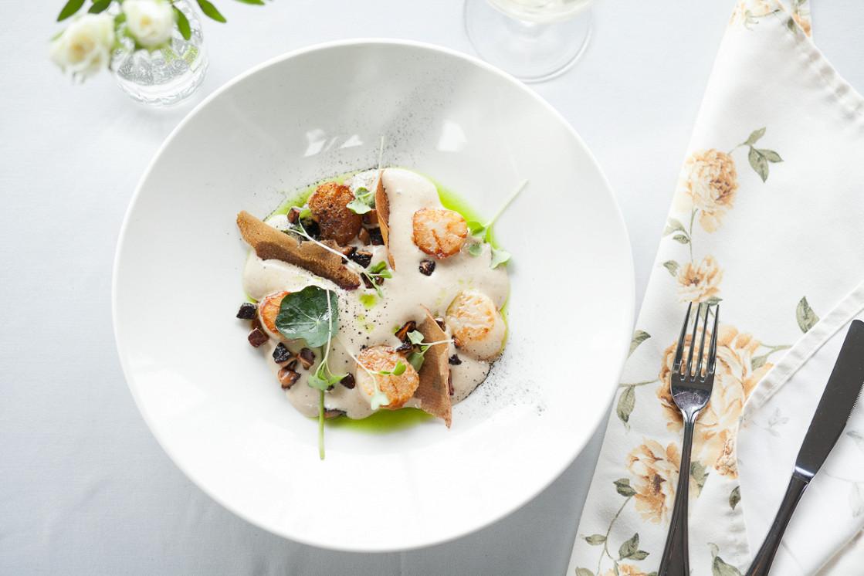 Ресторан Dozari - фотография 14 - Морские гребешки с картофельным кремом, тар-таром из белых грибов и трюфельным маслом
