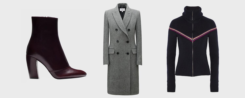 Ботильоны Uterque, 15 990 р., пальто Uniqlo x Carine Roitfeld, 14 999 р.,  кофта Isabel Marant, £396
