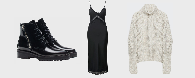 Ботинки Uterque, 11 990 p., платье Uniqlo x Carine Roitfeld, 6999 р., свитер Zara, 3999 р.