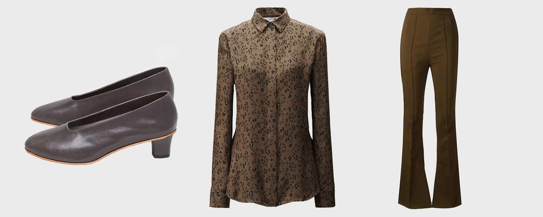 Туфли Martiniano, $540, рубашка Uniqlo x Carine Roitfeld, 2999 р., брюки  Marni, 64 544 р.
