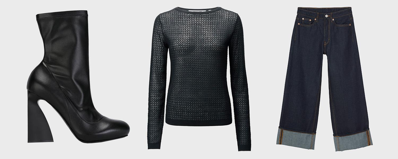 Ботильоны Stella McCartney, 50 461 р., свитер Uniqlo x Carine Roitfeld, 2999 р., джинсы Monki, £50