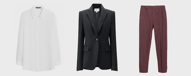 Блузка Mango, 1999 р., жакет Uniqlo x Carine Roitfeld, 9999 р., брюки Zara, 2599 р.