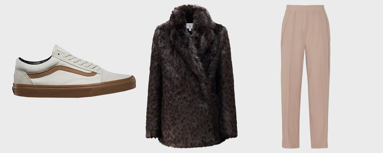 Кеды Vans, 4790 р., шуба Uniqlo x Carine Roitfeld, 9999 р., брюки Malene Birger, £213
