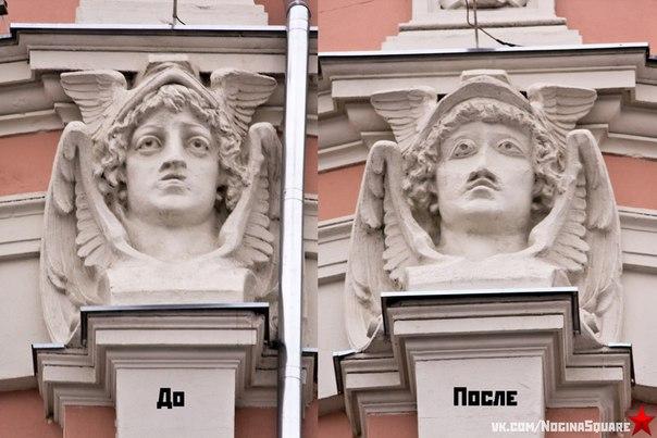 Слева — фотография одной из масок Меркурия в оригинале, справа — разрушившаяся и восстановленная в ходе реконструкции. Всего на здании четыре — изначально одинаковых — горельефа