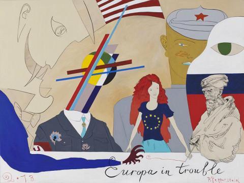 Работа Павла Пепперштейна «Europa in Trouble» из серии «Святая политика»
