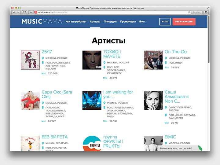 Как можно видеть, на Musicmama уже обитают не только люди, о которых бесконечно пишет «Волна», но и популярные артисты вроде рэперов 25/17