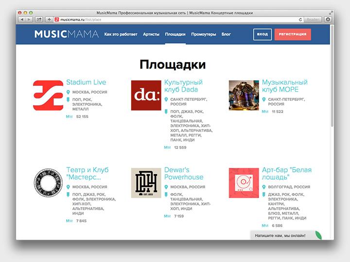 Некоторые площадки, представленные на Musicmama и готовые сотрудничать с артистами