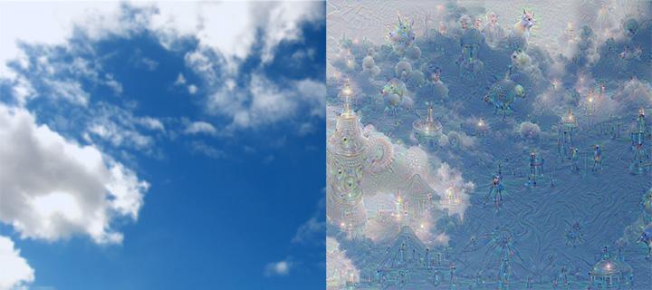 Нейросеть Google превращает обычные изображения в картины Николая Рериха, узнавая в силуэтах облаков птиц, людей и даже храмы.