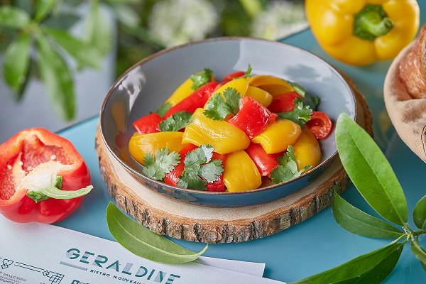 маринованные в оливковом масле с пряностями красные и желтые болгарские перцы (550 р.)