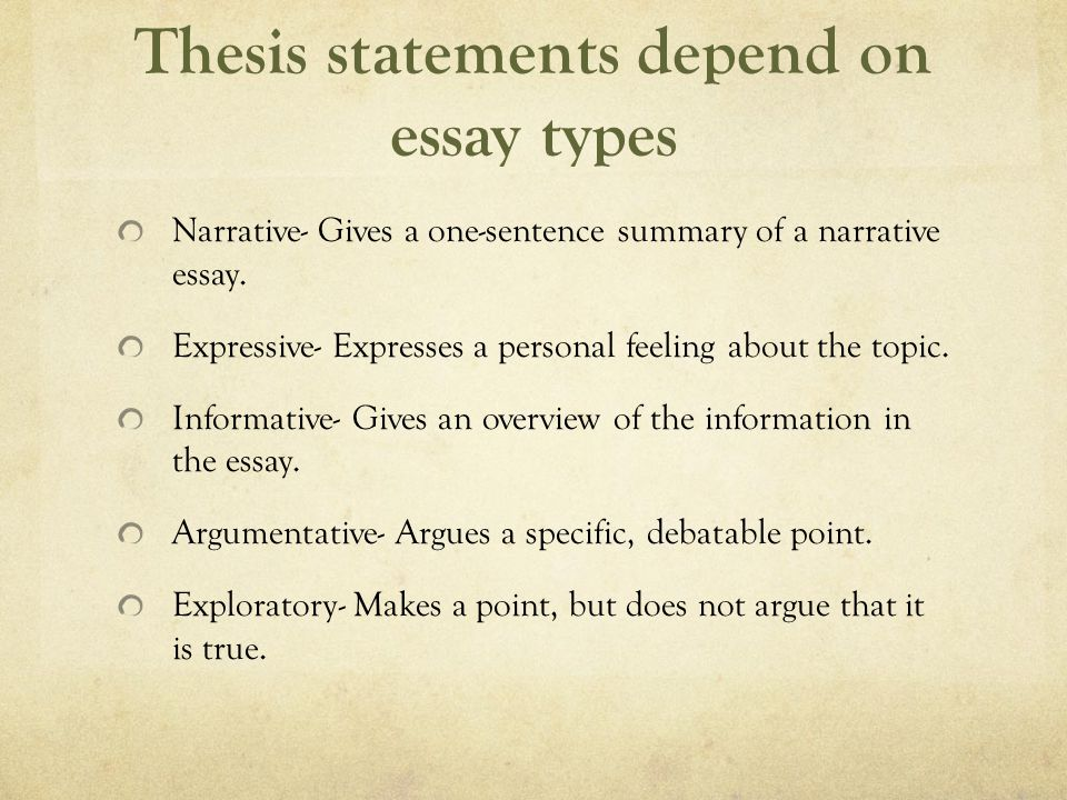 Thesis statement narrative