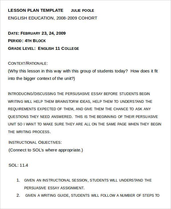 Example essay plan