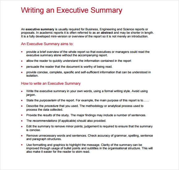 How to write a summary report
