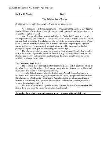 Absolute age dating worksheet