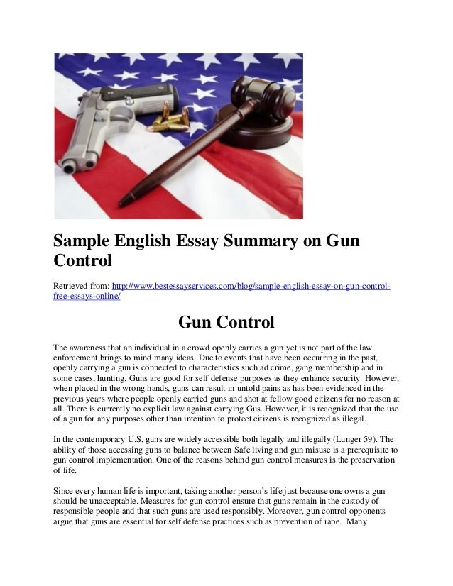 Thesis statement on gun control