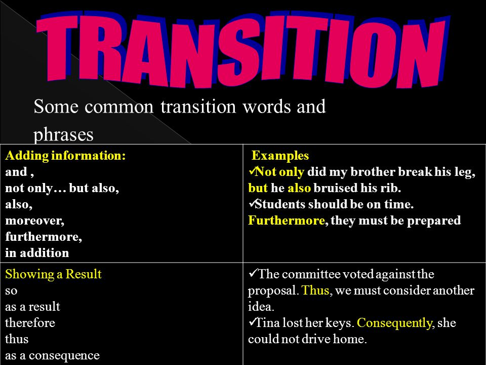Good transition words for a research paper