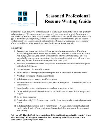 Professional resume outlines