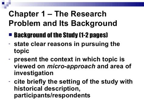 What is background of the study in a research paper