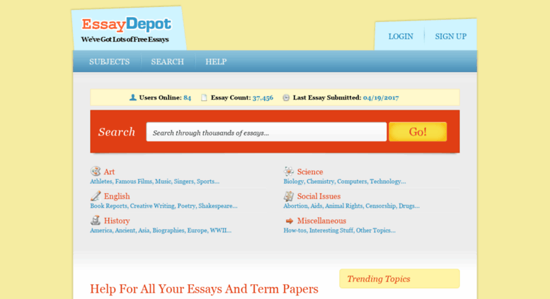 Free essays no sign up