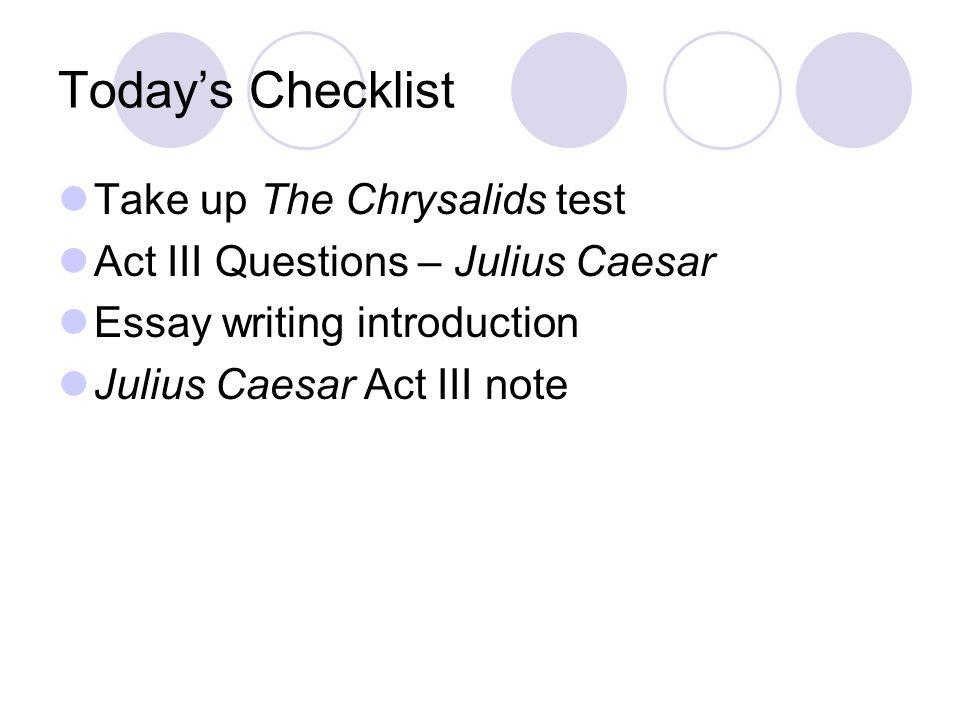 Chrysalids essay topics