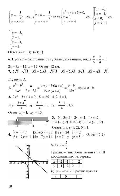 Итоговая контрольная работа по математике 8 класс в форме огэ 2016 ответы