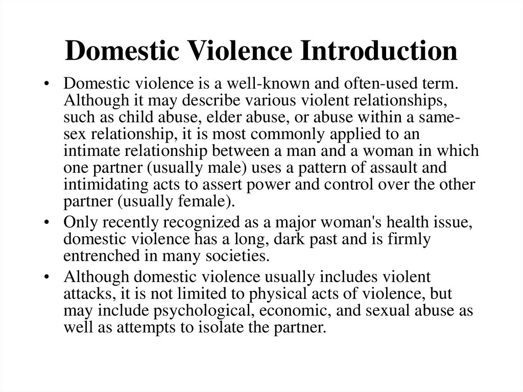 Domestic violence thesis
