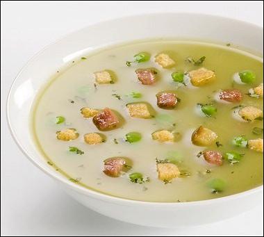 Рецепт Гороховый суп сбеконом исухариками
