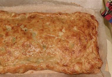 Рецепт Пирог изслоеного теста сначинкой изкапусты, зеленого лука ияйца