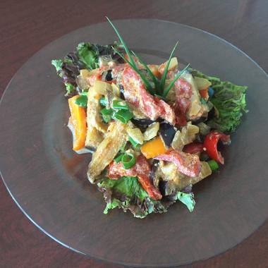 Рецепт Баклажаны, тушеные всметане, сболгарским перцем