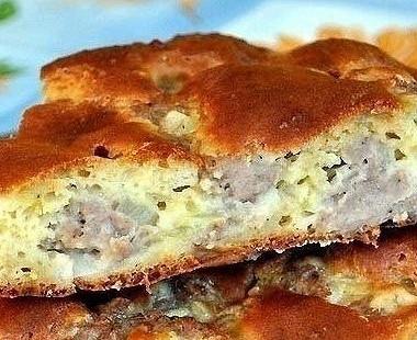 Рецепт Быстрый мясной пирог накефирном тесте
