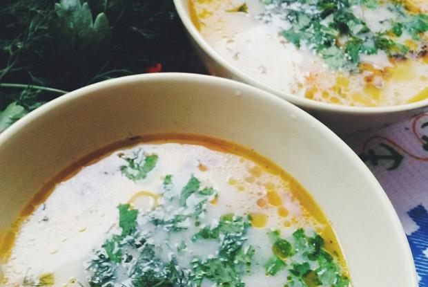 сливочный суп с шампиньонами и курицей