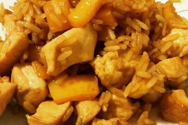 Тяхан тори (Жареный рис с курицей)
