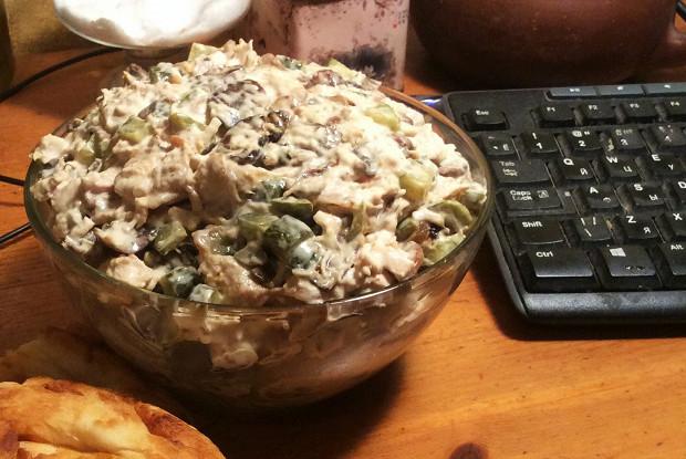 Салат с курицей грибы огурчики #2