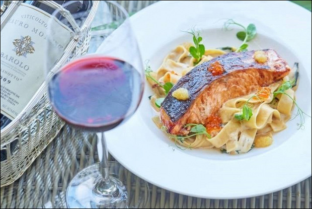 Папарделле с лососем